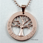 Personalized Rose Gold Plate Tree Of Life Washer Necklace Choose Your Colour