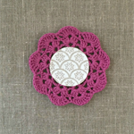 Crochet mug/teapot doily coaster in purple, teacher gift