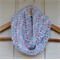 crochet infinity scarf | multicolour pastel pink aqua blue white | 2 - 8+ years