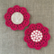 Crochet mug/teapot doily coaster in deep winter berry, teacher gift
