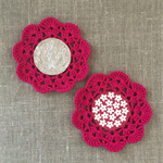 Crochet mug/teapot doily coaster in deep winter berry, teacher gift