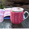 Mug cozy, coffee cosy, cup warmer | watermelon pink  birthday gift, teacher gift