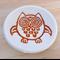 Orange owl porcelain ring dish, ring holder. Ceramic bowl.