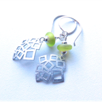 Geo lime and silver earrings by Sasha+Max Studio