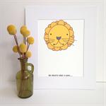 Lion Illustration Print.  A3