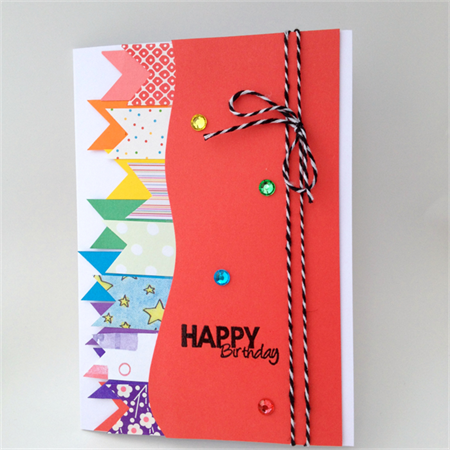 Birthday Card - Light Red with flags