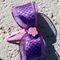 Handmade Girls Party Pink Flower with Purple Bow