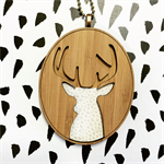 """The White Stag"" Wooden Bamboo Deer Pendant"