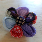 Japanese Kimono fabric Floral Brooch