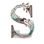Cute Multi-Coloured Floral Letter S A4  Print Sienna Skylar Sophie Sophia