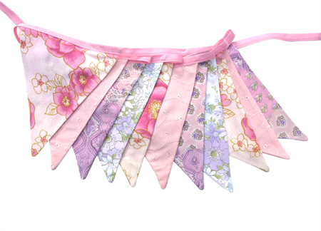 Vintage Bunting - Spring Floral Pink & Lilac with Lace Flags. Wedding, Party