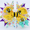 Bella 'Bumble Bee' Bow in Yellow, Purple & Mint