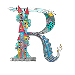 Cute Multi-Coloured Tiny Town Letter R A4  Print