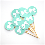 12 Cupcake Toppers - Turquoise with White Bows Tiffany Themed Party