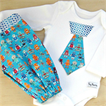 Boys set. Baby boys 2 piece. Onesie and pants set. Robot tie and harem pants.