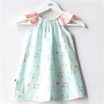 Mint & Peach Rosemilk Dress with flutter sleeves. Size 0 to 3