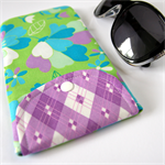 Peggy-Sue Glasses/Pencil Case - In the flower garden with purple plaid