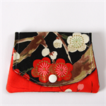 Find a Penny Purses - Red & white Cherry Blossoms with shiny gold.