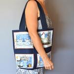 Navy market bag, large tote, shopping bag
