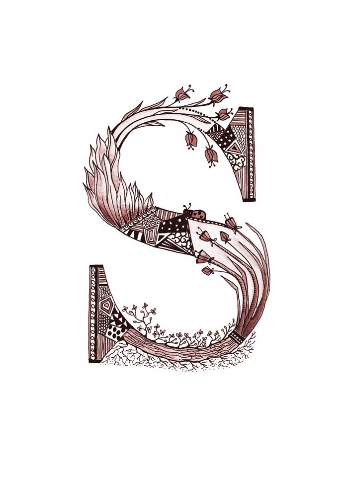 cute multi coloured floral letter s a4 print sienna skylar sophie