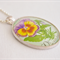 Pansy vintage postage stamp pendant, 1968