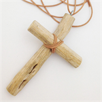 Driftwood Cross Necklace on Natural Leather