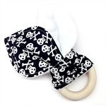 Wooden Baby Teether Pirate Skulls
