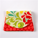 Find a Penny Purse - Flowers with Red spotty dots