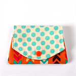 Find a Penny Purses - Aqua Blue Polka Dots with arrows on orange