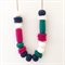 Teal, Navy, Fuchsia & White Polymer Clay Statement Necklace