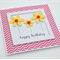 Happy Birthday yellow glitter flowers pink chevron