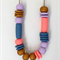 Coral, Gold, Lavender & Denim Polymer Clay Statement Necklace