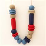 Red, Navy, Denim & Latte Polymer Clay Statement Necklace