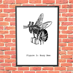 Busy Bee - original design - A4 archival quality print