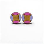 Scallop Purple & Pink Studs