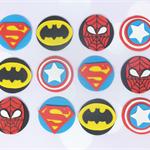 12 x Edible Superhero Cupcake Toppers