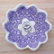 Porcelain doily ring dish, candle holder, ceramic bowl. Purple lace bowl.