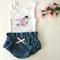 Baby Denim Bloomers and singlet set - nappy covers, newborn, summer, blue, bird