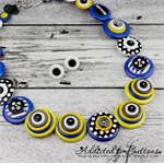 Banana! ~ Yellow + Blue Google Eyed Button Necklace and Earring Set