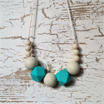 Silicone Necklace - Nursing and Teething - Jewellery for Mums - Cream Turquoise