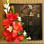 Unique Wall Clock, Modern Contemporary Wall Art Black Orange Artificial Flower