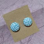 Fabric Button Earrings - Jewellery for Mums - Aqua Criss Cross