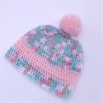 crochet baby beanie | multicolours + pink stripe & pom pom | newborn - 6 months
