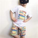 Size 3 Boys Bright & White Aussie Australia Cities Text Shorts & Tee Set