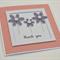 Thank You purple glitter flowers peach polka dots