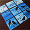 Birds painting on canvases - small blue bird paintings on canvas panels, art