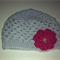 0-3m; Crochet Wool Baby Beanie Hat with Flower; Grey & Pink