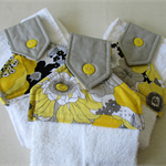 Hanging Hand Towel for Kitchen and bathroom - Yellow black and grey flowers