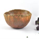 Ceramic Stoneware Condiment Trinket Bowl Matt Brown Orange Handmade Home Decor