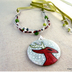 Snow Forest Deer - hand painted pendnat, necklace, 3 strand beads, felt ribbon